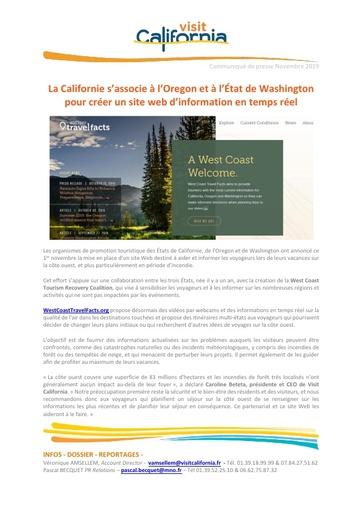 16   Visit California   Nov 19   Californie et Oregon créent un site d'information