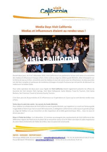 20   Visit California   Dec 19   Media Mission