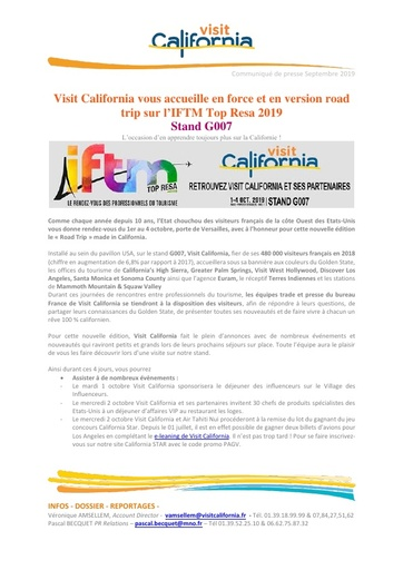 13   Visit California   Sept 19   IFTM
