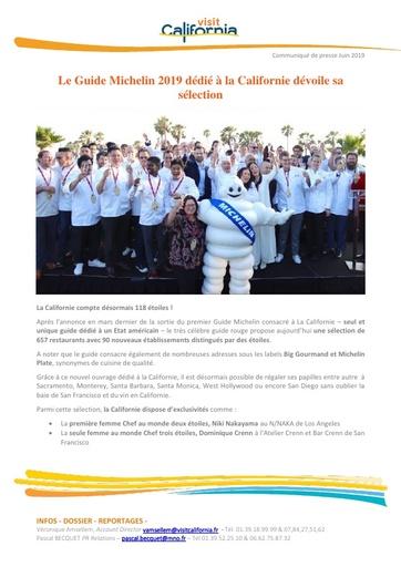 09   Visit California   Juin 19   Sortie du Guide Michelin