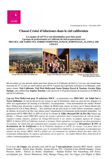 17   Visit California   Nov 19   Chassé croisé d'éductours dans le ciel californien
